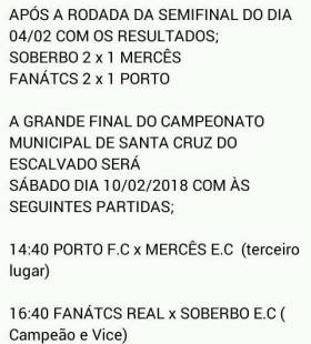 Decisão do campeonato municipal no campo do Soberbo.